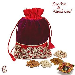 Purple  Red Velvet Dry fruit Pouch and Diwali Hamper