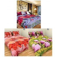 Iliv Polyester Designer 3D Double Bedsheets With 6 Pillow Covers- Assorted Colour Set Of 3