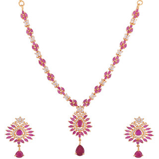 12acceee6c Buy 1 gram gold plated ruby and white cz stones Necklace set Jewelry ...