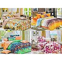 K Decor Set Of 4 Double Bedsheets With 8 Pillow Covers(BS-004)