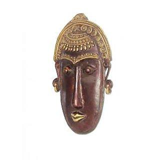 Dokra Art Decorative Colored Brass Metal Good Luck Mask (24 cm x 15.5 cm)