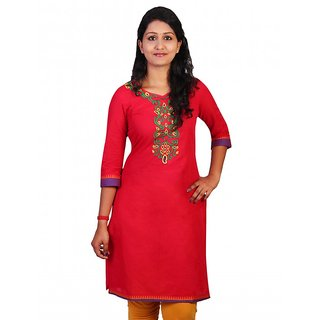 Plain embroidered kurthi