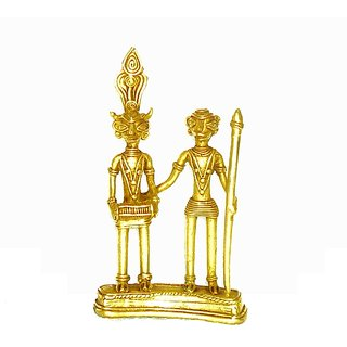 Dokra Art Decorative Brass Metal Dancing Tribal Couple (9.5 cm x 17 cm)