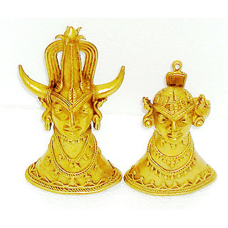 Dokra Art Decorative Brass Metal Tribal Head Pair (10.5 cm x 20.5 cm)