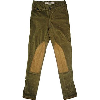 Girls Pant In Brown Corduroy With Gold Patches On The Knee
