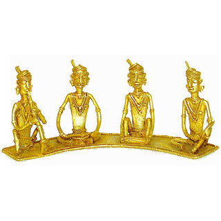 Dokra Art Decorative Brass Metal Tribal Musicians (28 cm x 5 cm x 11 cm)