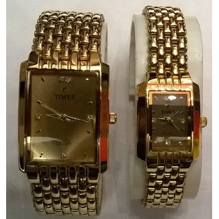 couple wrist watch gold plated lsr