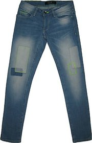 Girls Denim Pant With PP Spray Heavily Washed  Patch On The Knee