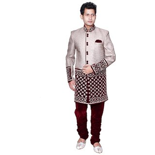 PACKARD Velvet and twill CREAM  MAROON COLOR INDO WESTERN(size-38)