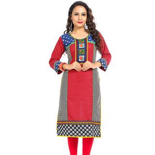 VALAS Ravishing WomenS Cotton Printed Long Red Kurti