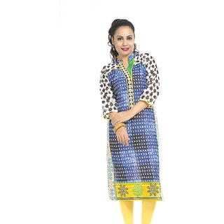VALAS Superb WomenS Cotton Printed Long Blue Kurti