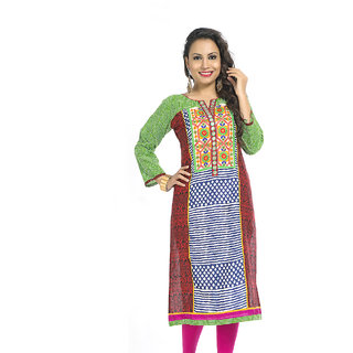 VALAS Swank WomenS Cotton Printed Long Green Kurti