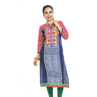 VALAS New Design WomenS Cotton Printed Long Red Kurti