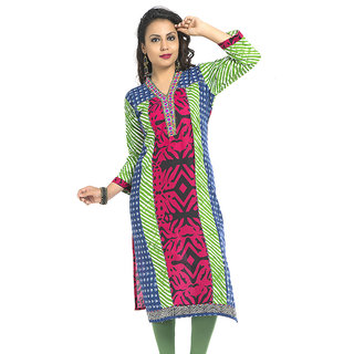VALAS Up-To-Date WomenS Cotton Printed Long Pink Kurti