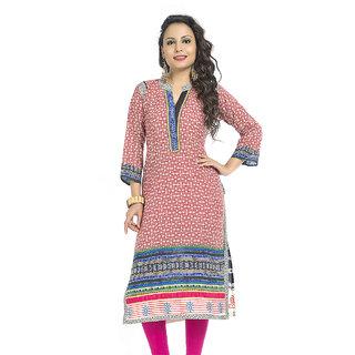 VALAS Urbane WomenS Cotton Printed Long Pink Kurti