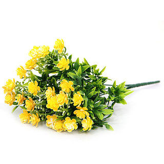 Giftsbymeeta Yellow Mini Flowers Stem Artificial Flower Bunch For Home Dcor And Diwali Gift