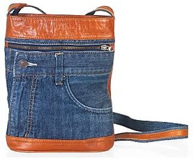 Sling Bags-Slings-Genuine Leather Bags-Denim Leather-Or