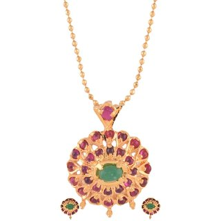 1 gram gold plated temple design pendant earring set without chain Jewelry 5399