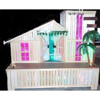 Decorative Wooden House with led light