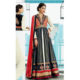 Wholetex Black and Off White Banarasi Silk Anarkali Suit