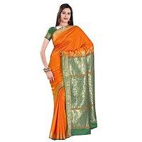 Triveni Orange Art Silk Lace Saree With Blouse