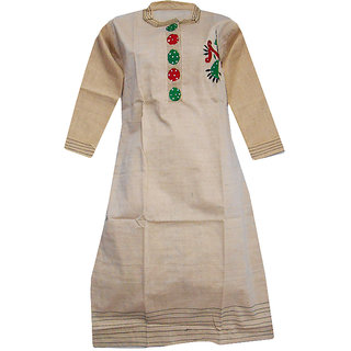 Srinika cream kurti with 1 side red-green print