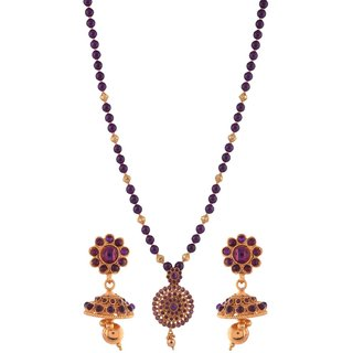 Gold plated temple design And purple jade pendant earring set chain Jewelry 5446