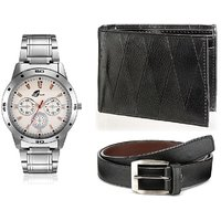 Arum Combo Of Stylish Silver Watch  Black Wallet With Belt AWWB-003
