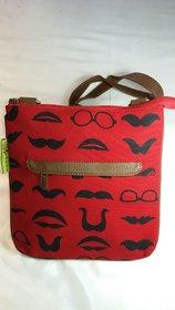 Muchi print Canvas Red Sling Bag