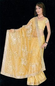 Butterflies Yellow Jacquard Floral Saree With Blouse