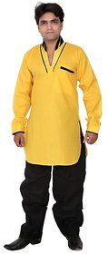 Arzaan Creations Yellow Designer Kurta With Black Shalwaar