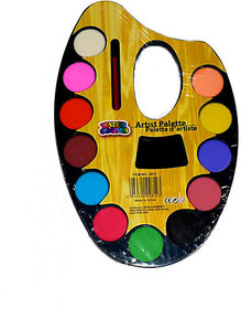Artist Palette With 12 Water Color With Paint Brush