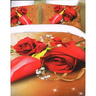 valtellina Red Roses Floral Polyester Diwali Gift Box Bedsheet2 pillow(AC-004)