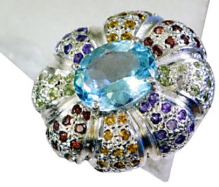 Riyo Blue Topaz Pure Silver Jewellery Ecclesiastical Ring Sz 8 Srbto8-10073