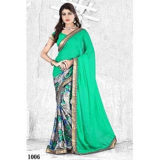 Sareemall Green Linen Satin Self Design Saree With Blouse