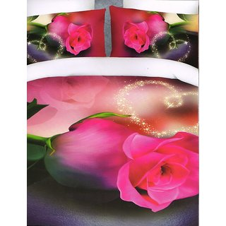 valtellina Pink Rose Print Polyester Diwali Gift Box Bedsheet with2pilow(AC-010)