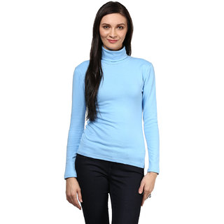 Hypernation Blue Color High Neck T-Shirt For Women