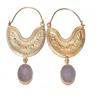 Temple earrings with semi precious stones