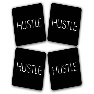 The Fappy Store Hustle Printed Wooden Kitchen Coaster Set Of 4 (TFKC10081)