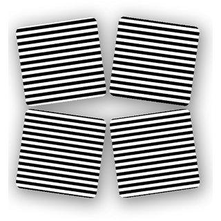 The Fappy Store Modern-Black-White-Strip Printed Wooden Kitchen Coaster Set Of 4 (TFKC10264)