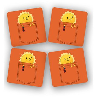The Fappy Store Pocketful-Of-Sunshine Printed Wooden Kitchen Coaster Set Of 4 (TFKC10279)