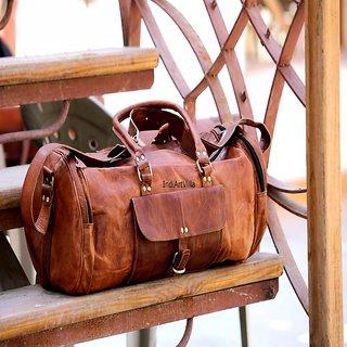 00238e0c65fb Vintage Round Genuine Leather Handmade Luggage Bag Travel ...