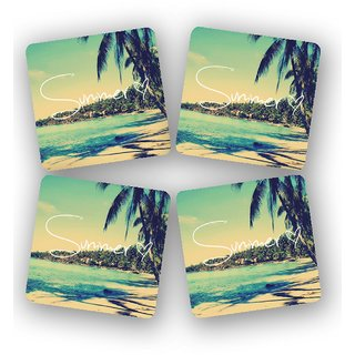 The Fappy Store Summer-Love-Beach Printed Wooden Kitchen Coaster Set Of 4 (TFKC10296)