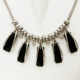 Surbhs Black Stone Silver metal Necklace