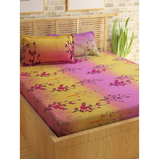 Bedspun 100 Cotton Pink 1 Double Bedsheet With 2 Pillow Cover-Mg1466-Bs