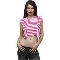 Yepme Lorri Crop Top - Pink  White