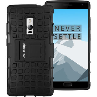 OnePlus Two Protective Back Cover / Case  Cool Mango Premium Dual Layer Armor Protection Case / Cover with Kick-stand for OnePlus 2 - Black