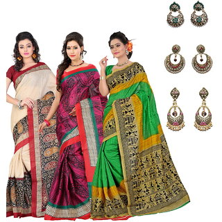 Lookslady Red Linen Printed Saree With Blouse (Combo of 3 with Free Earrings)
