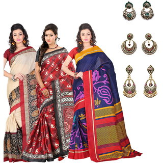 Lookslady Blue Linen Printed Saree With Blouse (Combo of 3 with Free Earrings)