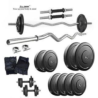 Protoner Home Gym Set With 26 kg Weight +3ft Curl Rod+Dumbbells Rod+Gloves